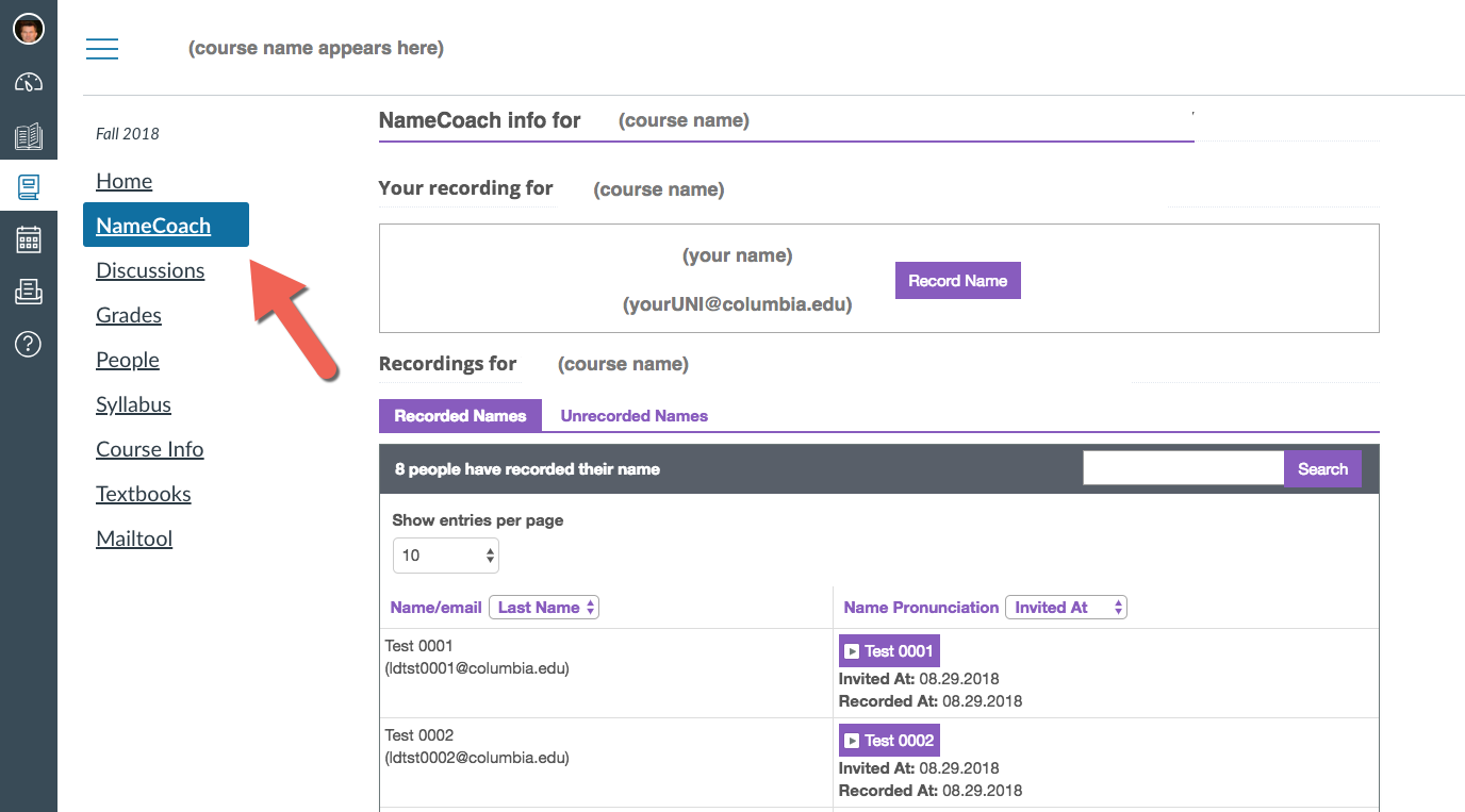 Screenshot of NameCoach in Canvas